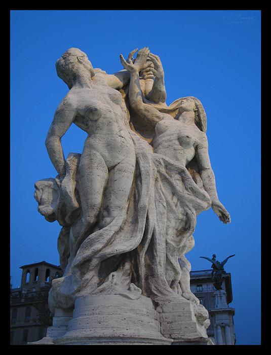 Rome Castel sculpt at dusk BLOG